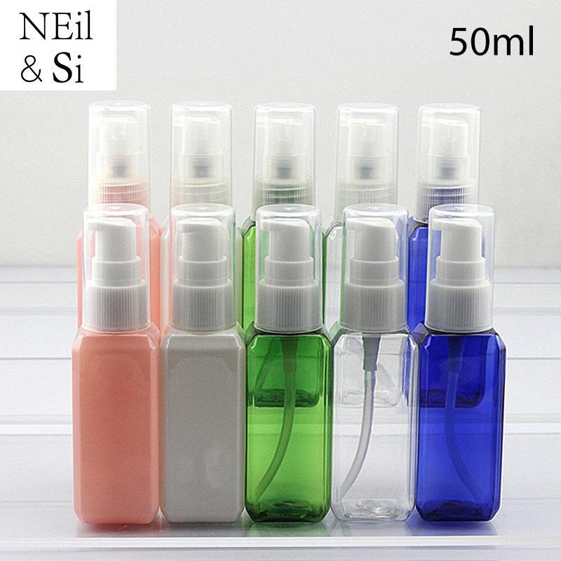50ml Plastikpumpe Flasche nachfüllbar Make-up Wasser kosmetische Creme Container transparentes Quadrat blau rosa grün weiße Farbe