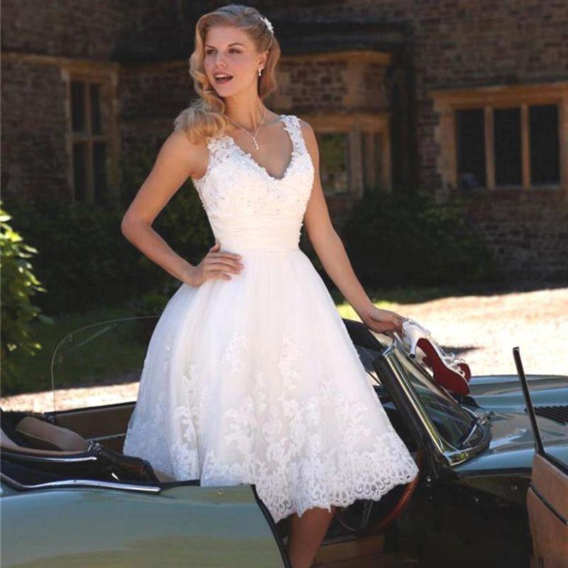Discount Short White Wedding Dresses A Line V Neck Boho Bridal Gowns Lace Appliques Robe De Marriage Dress For Bride Wedding Dresses Classic Wedding Dresses Gowns From Tbnabridal05 115 58 Dhgate Com