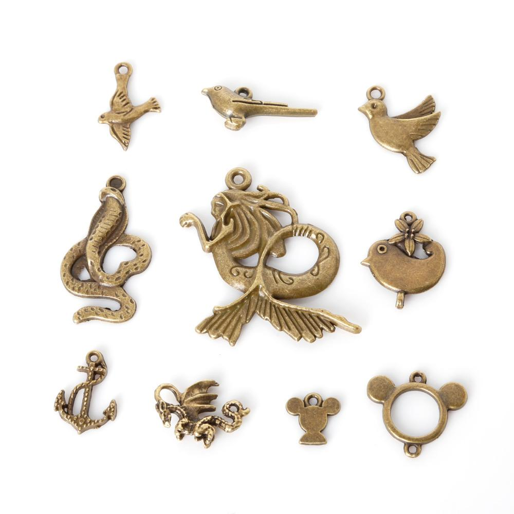 Free shipping New Wholesale 84pcs/lot Mixed Tibetan Zinc Alloy Animal Bird Charms Antique Bronze Plated Pendants For DIY Jewelry Findings j