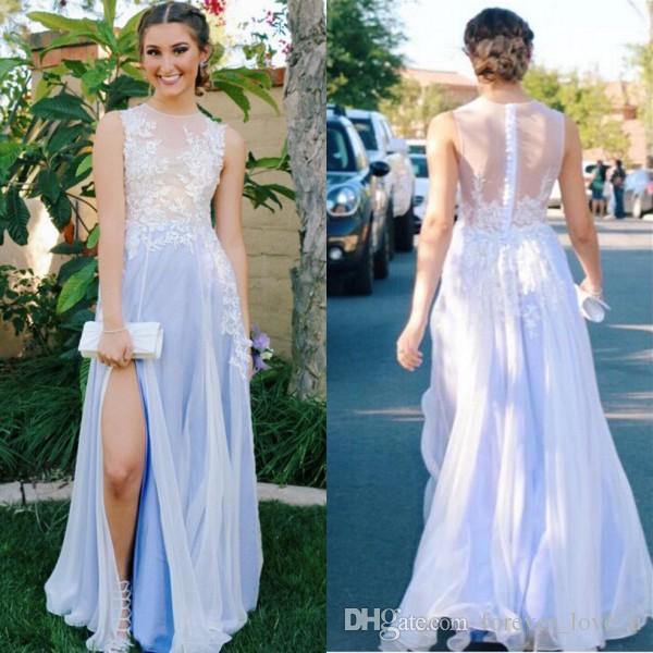 Sexy robe de bal longue soirée formelle robes de soirée pure bijou cou sans manches voir à travers le dos dentelle Appliques Party Wear avec haute Split