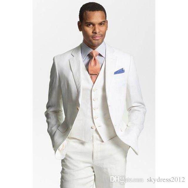Custom Made White Linen Suits Men Formal Skinny Summer Beach Simple Wedding Tuxedo 3 Piece Men Suits (Jacket+Pants+Vest) K370