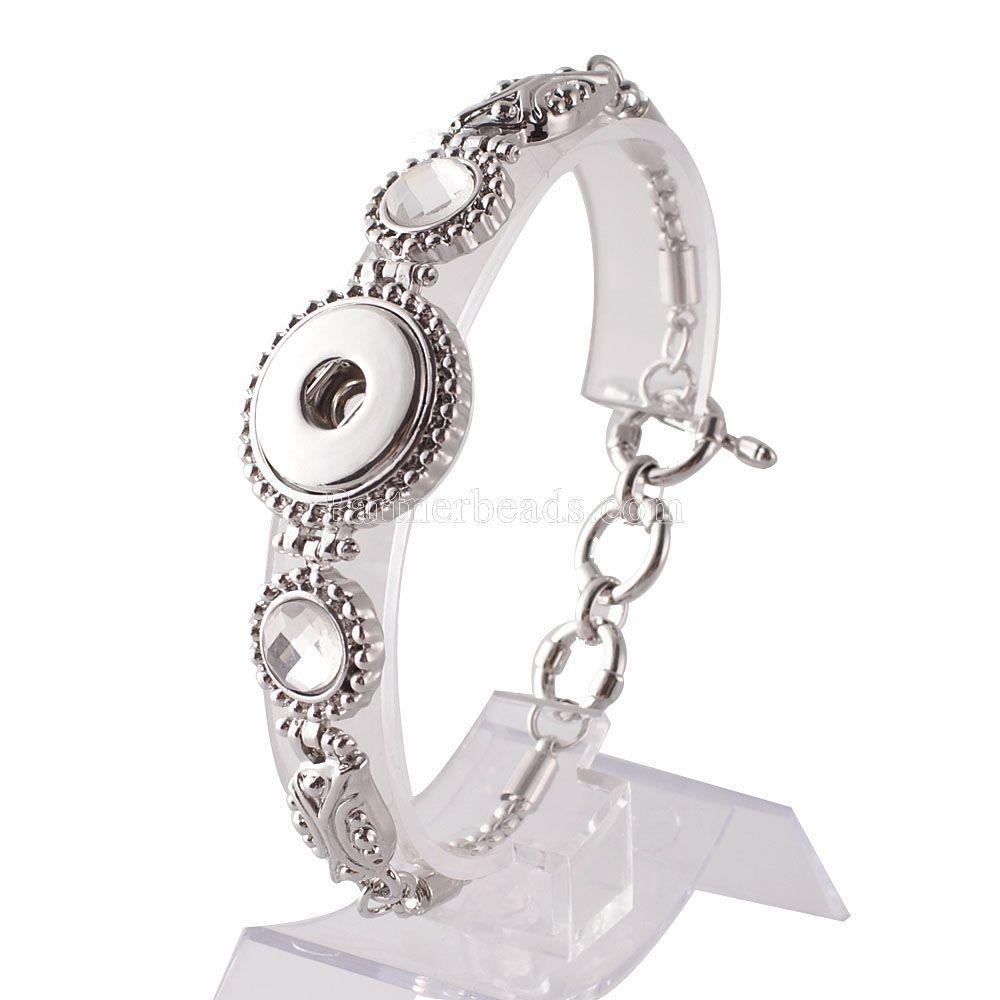 Sıcak Toptan Yapış Bilezik Bilezik Charms Kadınlar Için Metal Bilezikler Fit 18mm Diy Partnerbeads Snap Düğmesi Takı Kc0906