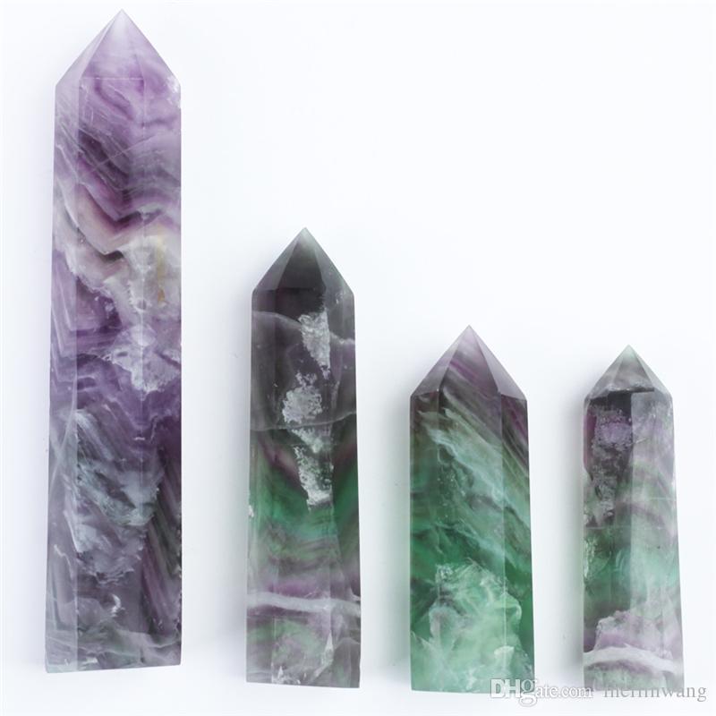 HJT 4 pcs en gros 290 g vente chaude Nouveau point de cristal naturel points de fluorite quartz reiki point de guérison cristal Cure chakra pierre