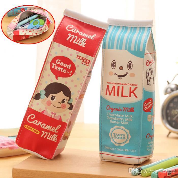 1set / 2pcs Simulação criativa do suprimento de leite Caixas de lápis caso do plutônio Pen Bag Kawaii Stationery Bolsa escritório da escola