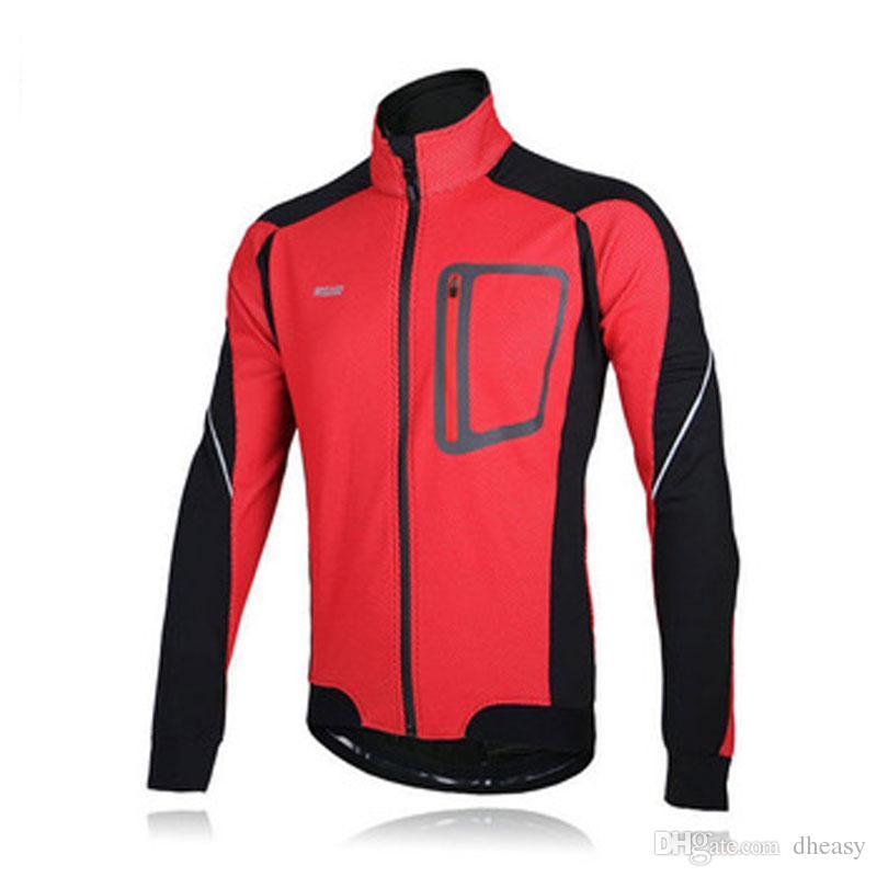 2016 ARSUXEO Rüzgar Geçirmez Yansıtıcı Ceketler Uzun Kollu Kış Termal Polar Jersey Set Bisiklet Bisiklet Bisiklet Giyim erkek Ceket 3 Col