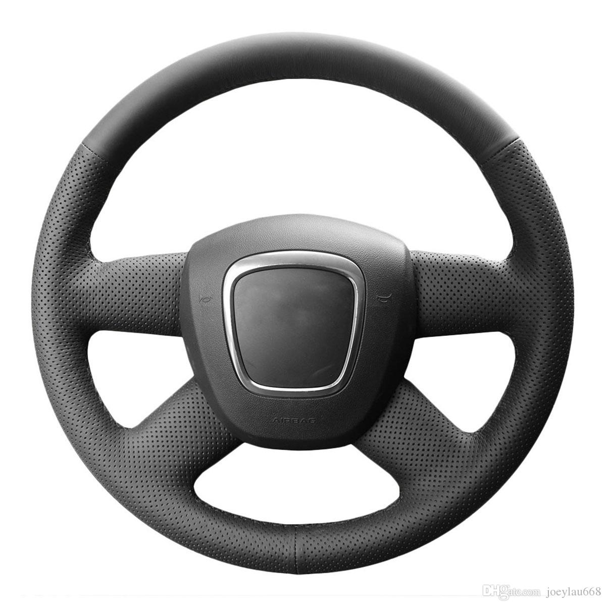 Steering Wheel Covers Case for Audi A4 B7 B8 A6 C6 4 Spokes Genuine Leather DIY Hand-stitch Steering Covers Black Leather