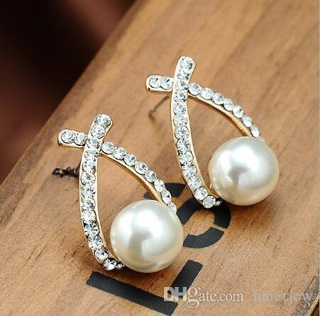 Saplama Küpe Toptan Altın Kristal Saplama Küpe Brincos Perle Pendientes Bou Inci Küpe