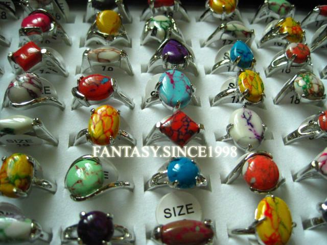 новые 100шт смешанные стили мода многоцветные женские красивые каменные сплава ювелирные изделия кольца Оптовая работа много