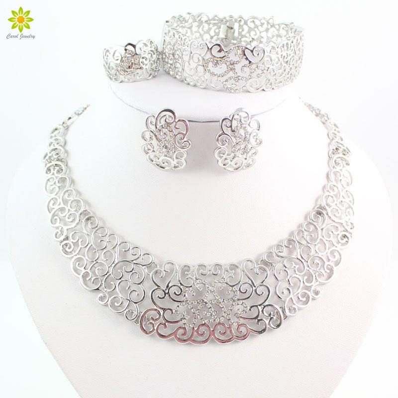 Fine Jewelry Sets Fashion Wedding Accessories Women African Beads Crystal Silver Plated Necklace Earrings Set Dress Collare