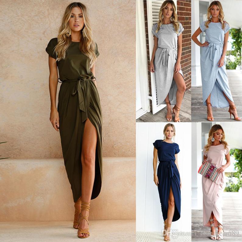 Nowe tanie sukienki Sexy Kobiety Odzieżowa Color Color Anti-Sleeve Plus Size Letni Sukienka Maxi Sukienki z krótkim rękawem dla kobiet 6 kolorów