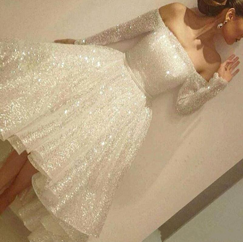 Fashion White Sequined Long Sleeve Prom Dresses Sexy Off Shoulder Tea Length Short Evening Dress Arabic High Low Evening Gowns