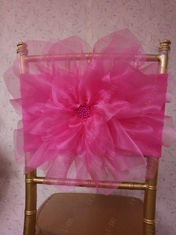 2016 Custom Made 3D Flower Plum Chair Covers Romantic Organza Beautiful Chair Sashes Cheap Wedding Chair Decorations 0332