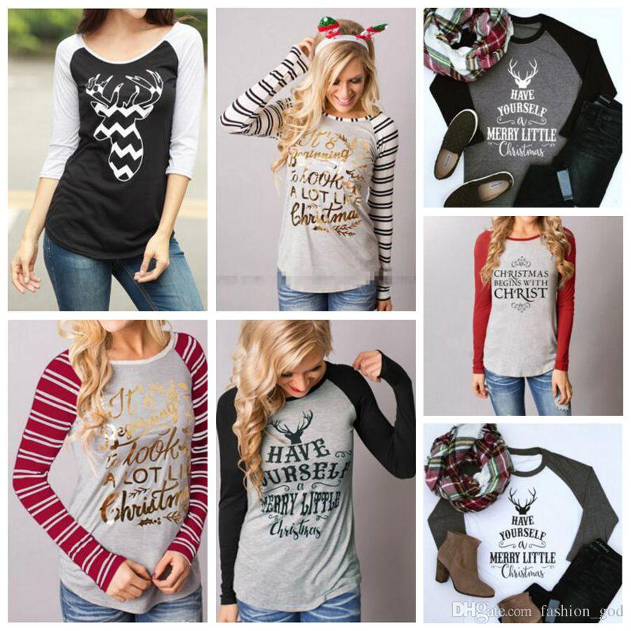 Christmas Tops For Women.Christmas T Shirts Women Xmas Tops Elk Xmas Deer Shirts Xmas Letter Striped Tees Casual Santa Claus Blouse Fashion Long Sleeve Shirts B3354 Awesome T