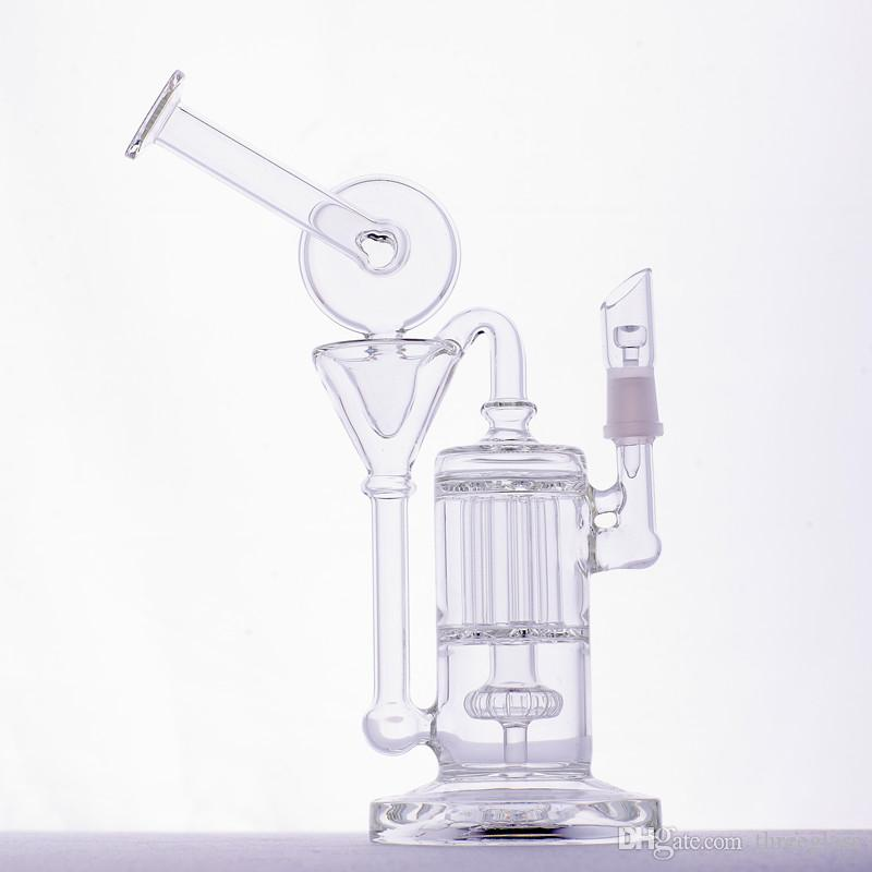 Glass Bongs Glass Water Pipes Recycler Bong Dab Oil Rigs 14.4mm Female Joint 28cm Discount