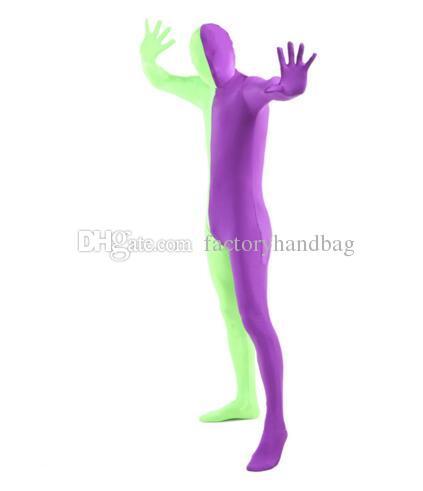 Tuta Zentai Full Body Lycra viola e verde Spandex