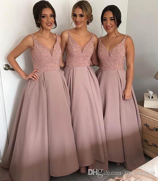 화려한 홍당무 핑크 라인 층 길이의 신부 들러리 드레스 베드 v 목 플러스 사이즈 하녀 명예 가운 긴 공주 웨딩 게스트 드레스