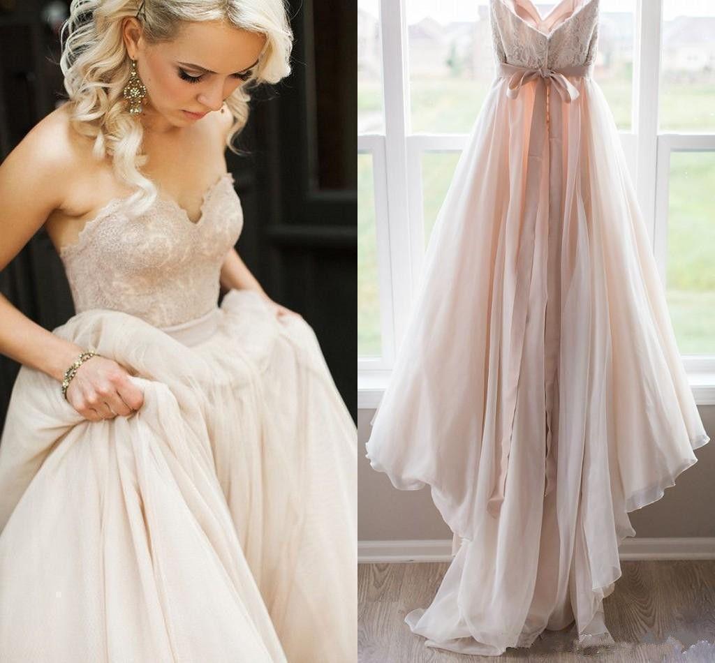 블러쉬 핑크 레이스 톱 웨딩 드레스 연인 등이없는 활 허리띠 보헤미안 웨딩 드레스 로브 드 MARIAGE 신부 드레스