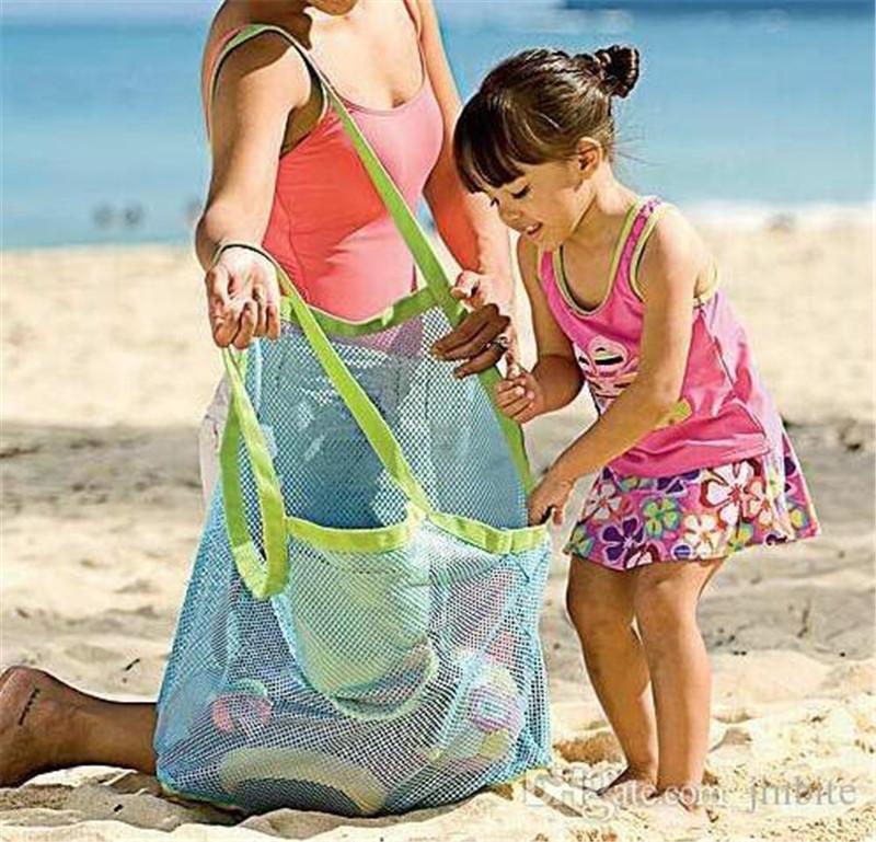 Grande capacidade de sacos de malha areia longe tesouros de praia saco de praia das crianças de areia brinquedo coletando sacos dhl frete grátis C047