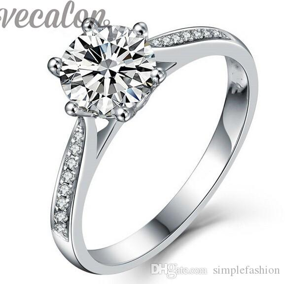 Vecalon fashion Jewelry wedding Band ring per le donne 1ct diamante simulato Cz 925 Sterling Silver femminile anello di fidanzamento