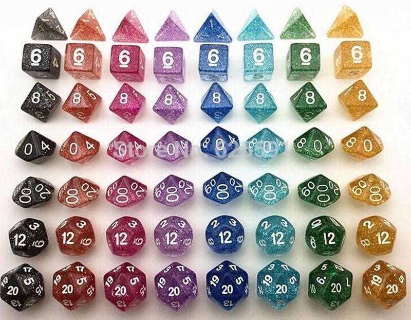 Jeu de dés polyhédral en poudre flash Jeu de RPG Ensembles de dés Jeux Dice D4 D6 D8 D12 D20 D10 (0-9) D10 (00-90) 7pcs / set # D5