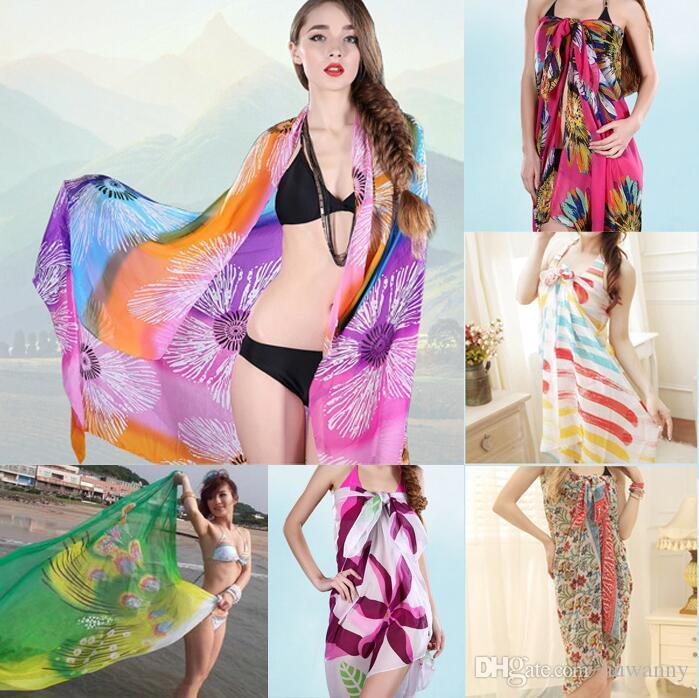 150*100cm Chiffon Scarf Fashion Long Beach Scarfs Wrap Shawl fashion multicolor scarfs Scarves Wraps Wholesale Free Shipping - 0046HW