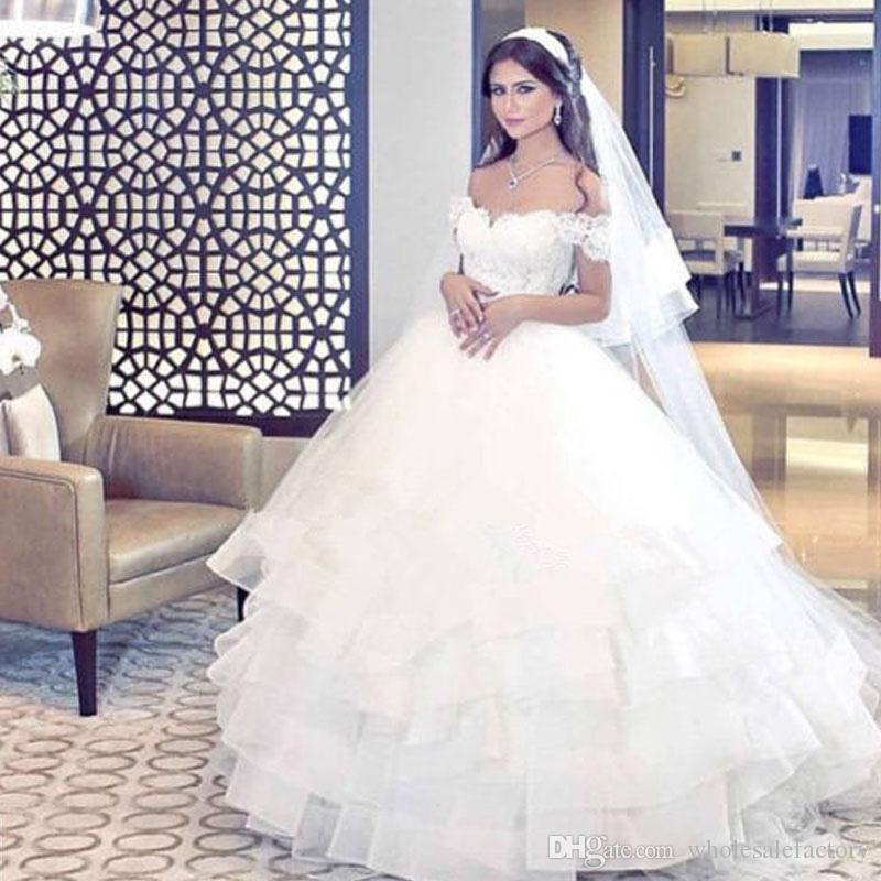 Elegant Off The Shoulder Arabic Wedding Dresses Ball Gowns 2017 Said Mhamad Vintage Lace Appliqued Ruffles Vestido De Novia 2018 From