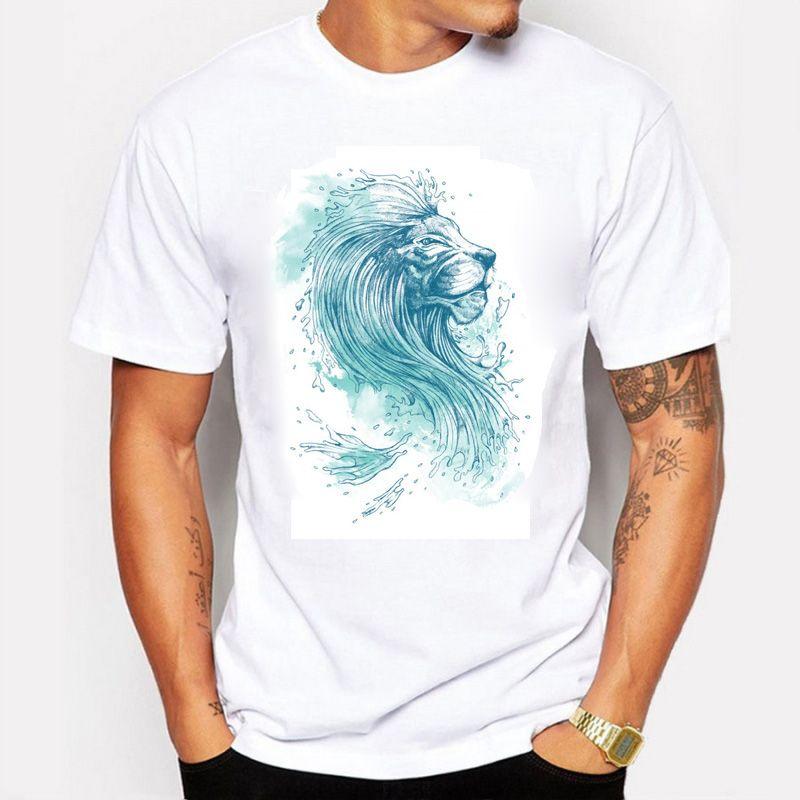 바다 사자 남자 반바지 tshirt 패션 브랜드 디자인 운동복 예쁜 면화 젊은 흰색 슬림 스트레이트 오 넥 남자 의류