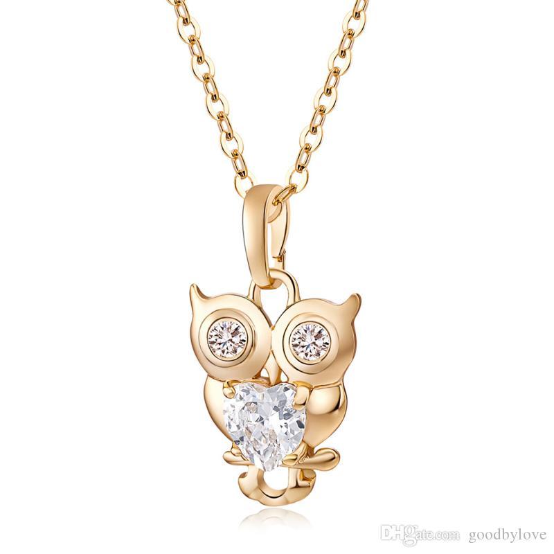 """Cute Owl Cut Klar Zirkon CZ Herz Halsketten Anhänger 18 """"Kette Halskette Frauen Grils Schmuck 18K Gelb Vergoldet Collier"""