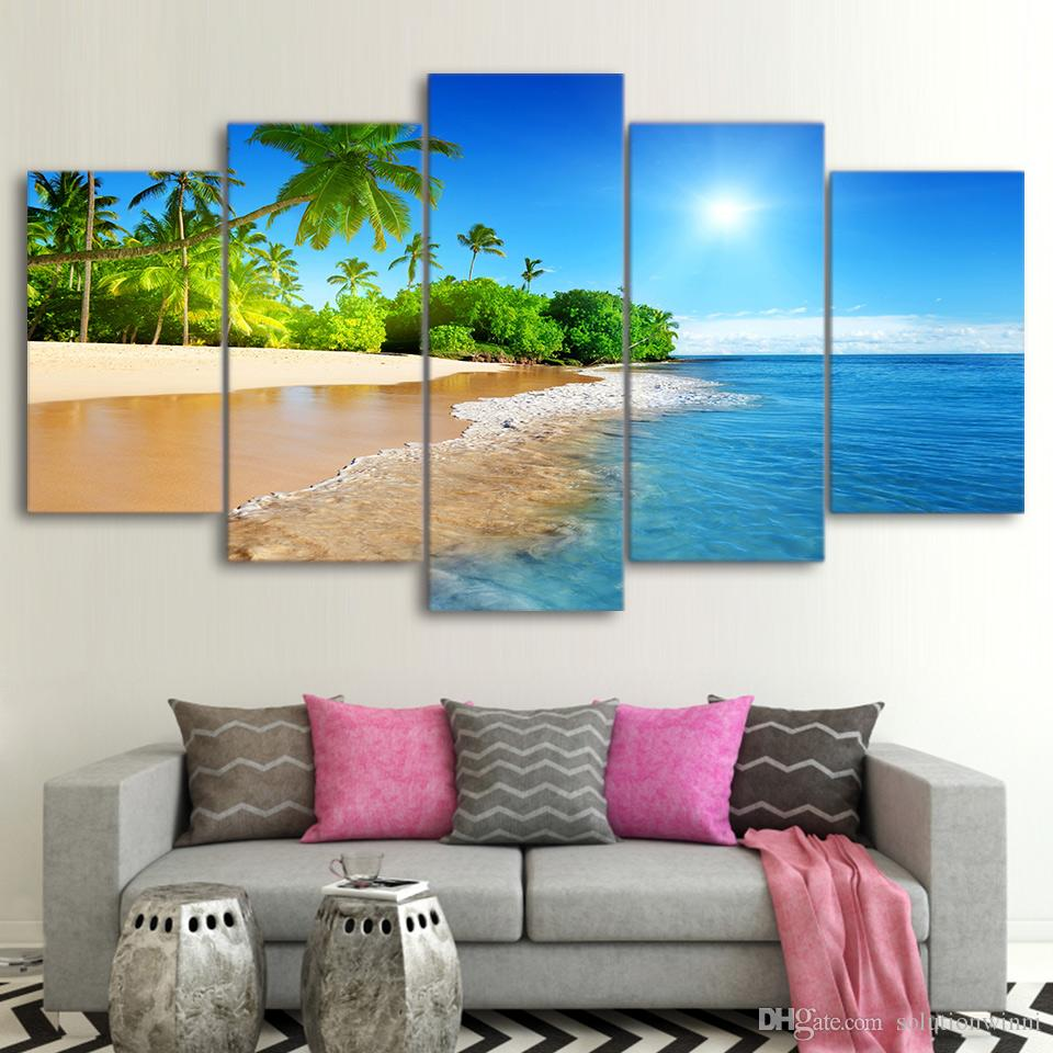 Tropical Beach Palm Tree 5 panel canvas Wall Art Home Decor Poster Picture