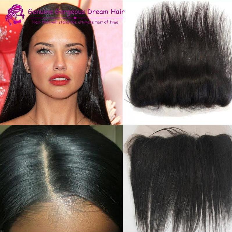 """7A peruana de encaje de pelo cierre frontal 13x2 """"con envío gratis cabello humano oreja a oreja encaje cordones nudos blanqueados"""