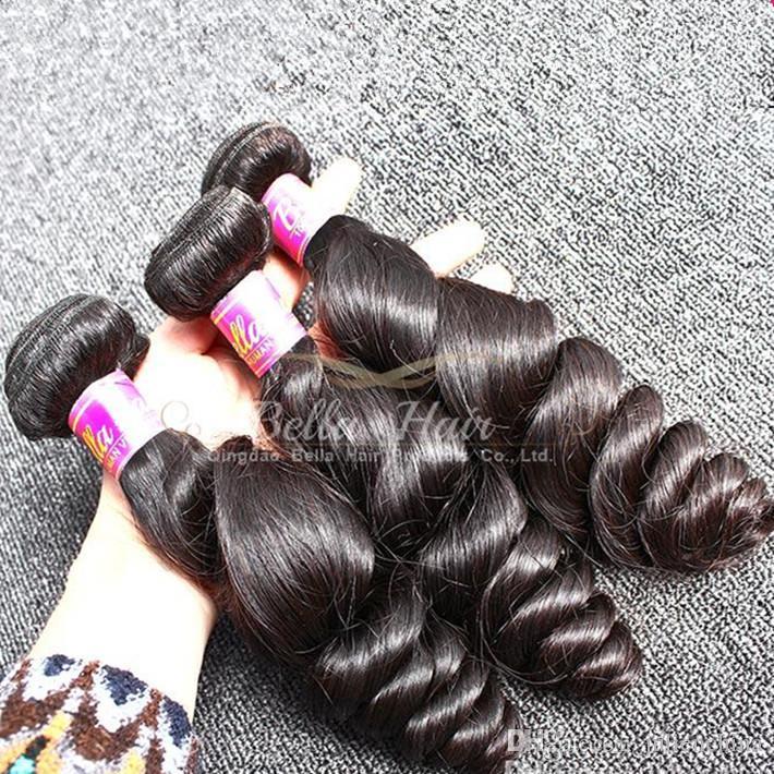 Bella Hair® Wholesale Grade 9A الماليزية الشعر موجة فضفاضة ملحقات 10pcs / lot اللون الطبيعي نسج الشعر البشري شحن مجاني