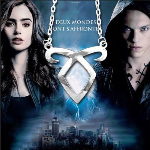 Ölümcül oyuncaklar şehir bones melek güç rune kolye kolye gümüş metal zincir kolye kolye gümüş kaplama takı aksesuar
