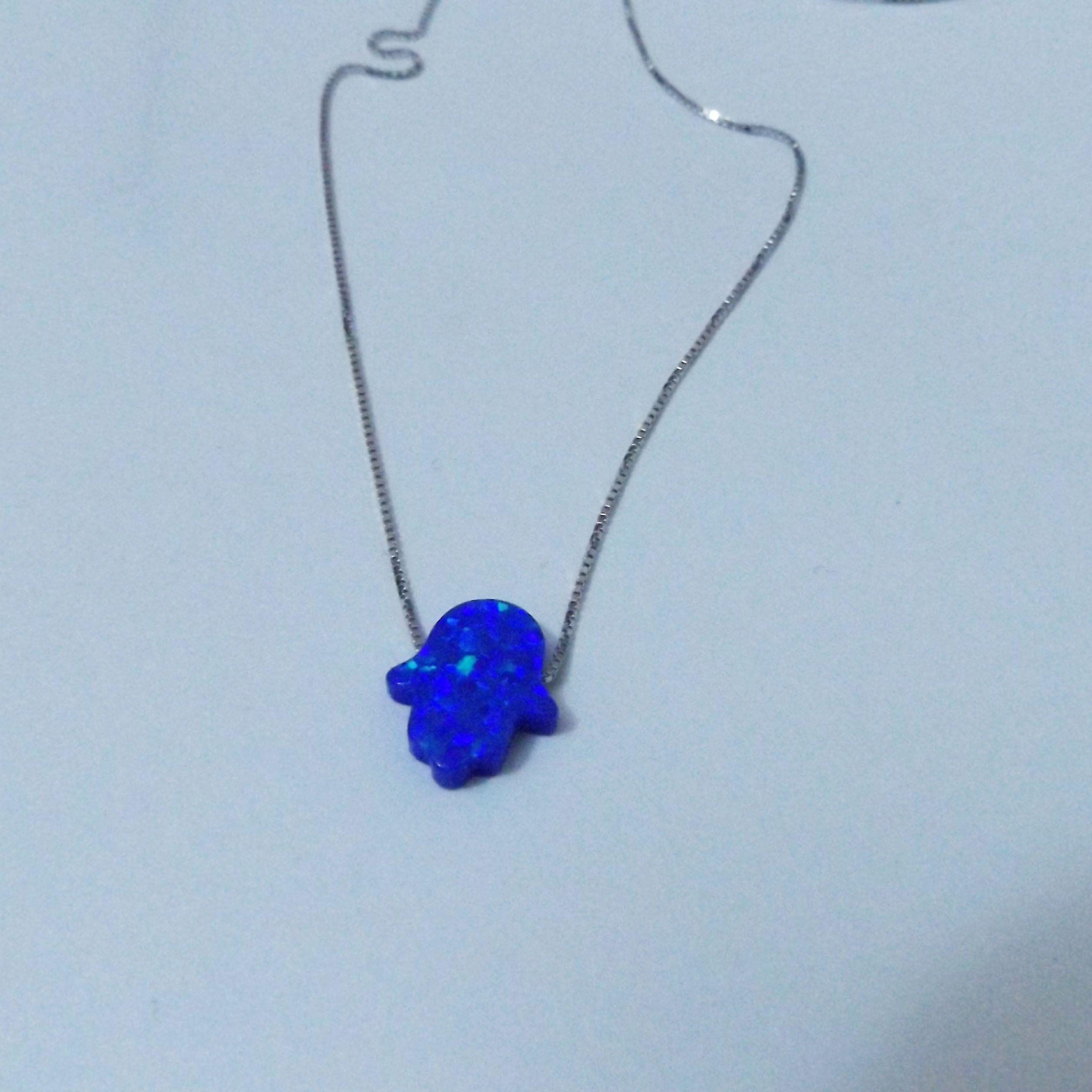 11x13 MM Hamsa mano laboratorio ópalo collar de plata 925 ópalo collar 5 unids mucho para mujeres