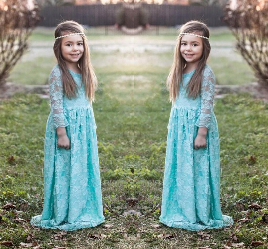 2016 robes de fille de fleur de dentelle bleu clair pour mariage menthe vert à manches longues fille robes de reconstitution historique sur mesure enfants robes de soirée formelle