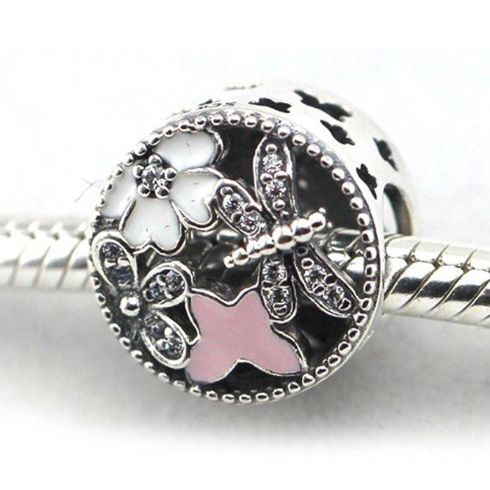 Silber Charme mit klarem CZ Weiß und Rosa Emaille 100% 925 Sterling Silber Perlen Fit Pandora Charms Armband Authentische DIY Modeschmuck