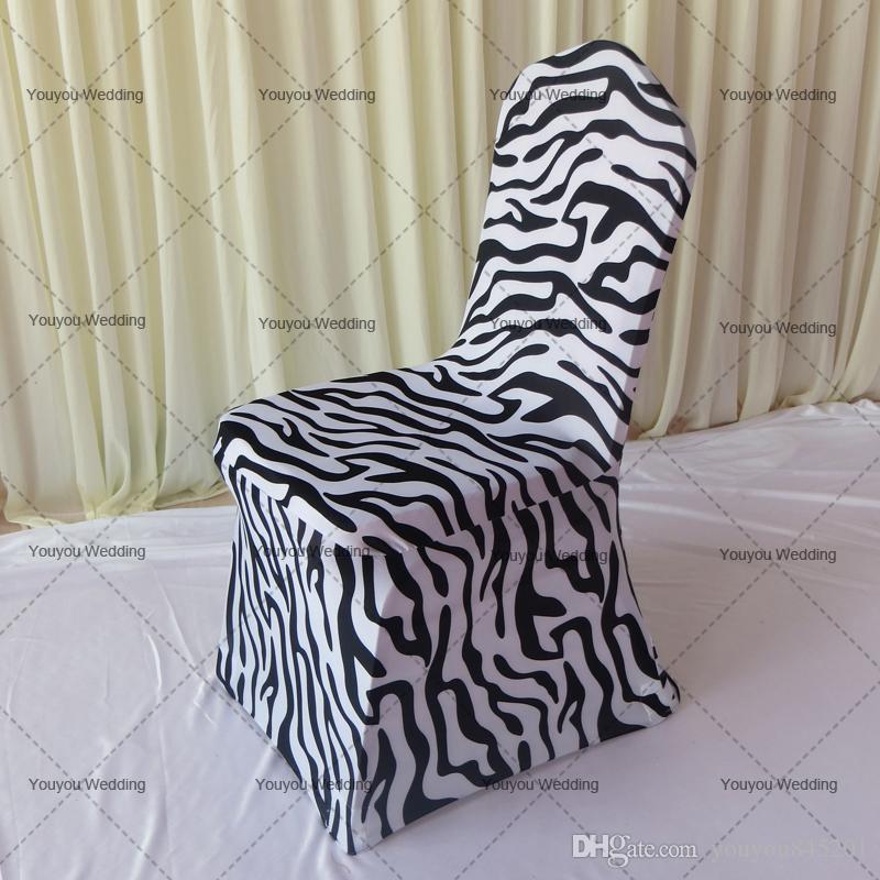 Zebra print zwart wit spandex banket stoel cover met voorboog op voet 100 stks met gratis verzending