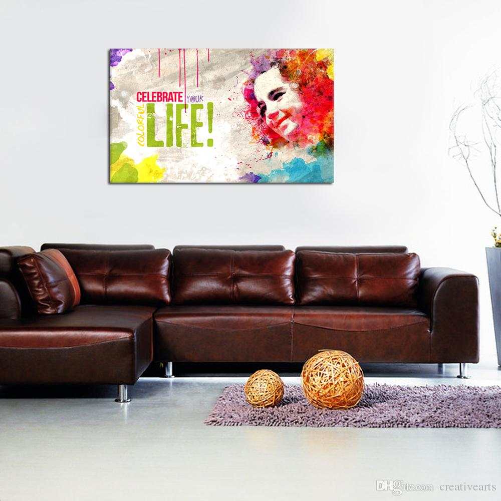 Modern Art Paintings For Living Room 2017 Modern Watercolor Smile Beautiful Girl And Color Word Canvas