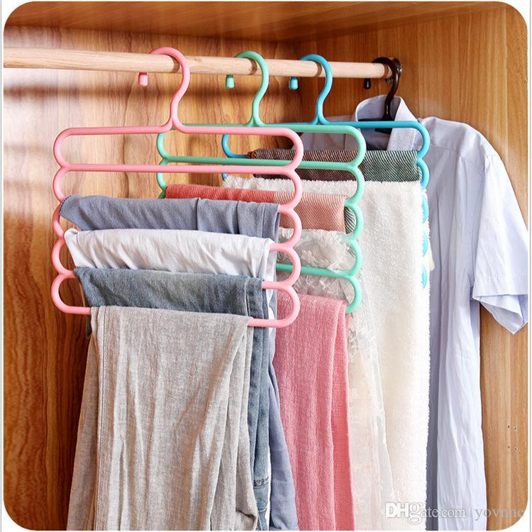 colorful clothes hanger rack antiskid multilayer pants hanger frame wardrobe 5 layer hanging mounts - Clothes Hanger Rack