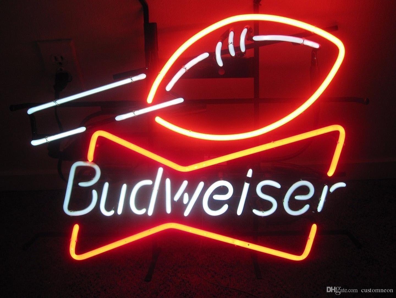 "17""x14"" Budweiser Bud Football Neon Light Sign Store Sports Beer Bar Pub Wall Decor Lamp"