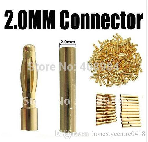 100 pair /lot 2.0mm banana plug Gold Plated 2.0mm Bullet Connector For ESC lipo Battery