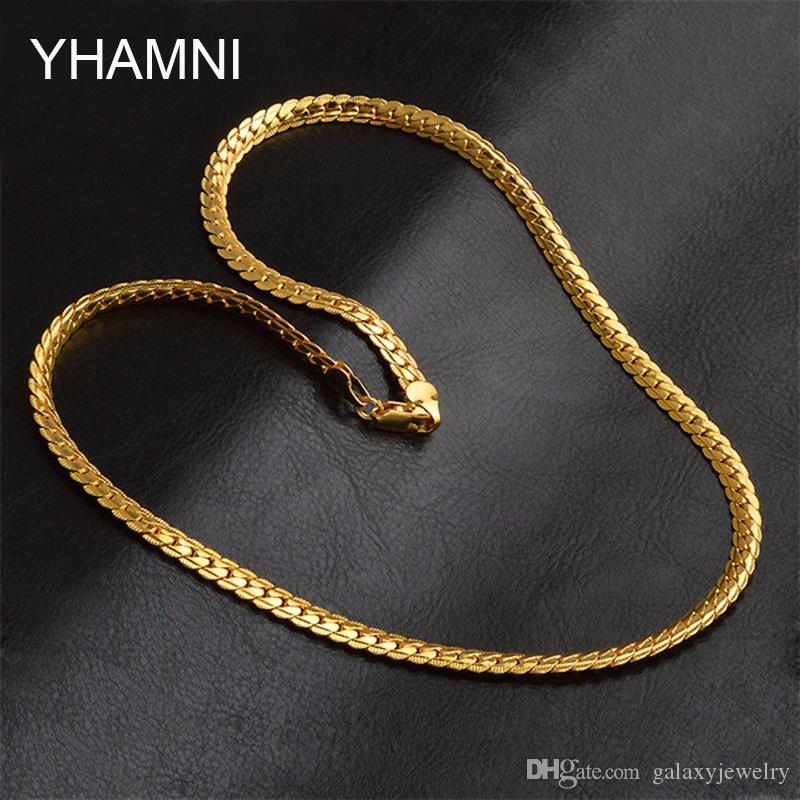 YHAMNI Men Gold Color Necklaces With Stamp Gold Color Necklace Wholesale Trendy 5 MM Wide 50 MM Long Snake Chain Necklace Men NX174