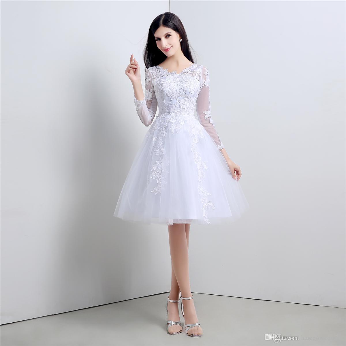 Youthful short wedding dresses knee length cheap stockings bridal youthful short wedding dresses knee length cheap stockings bridal gowns with long sleeves white black ombrellifo Gallery