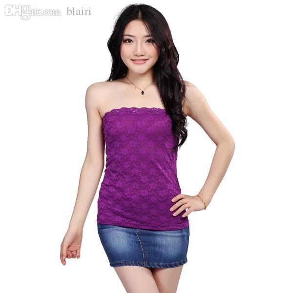 Wholesale-Women Ladies Casual Boob Tube Bra Crochet Lace Cami Vest TANK TOP H34