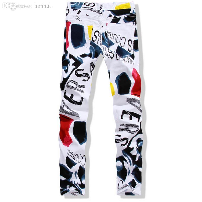 Atacado-Big Size 28-44 Branco Impresso Homens Jeans Moda Masculina Único Calça Jeans de Algodão Para Homem Hombre Ocasional Calças De Impressão De Detritos Hombre YN156
