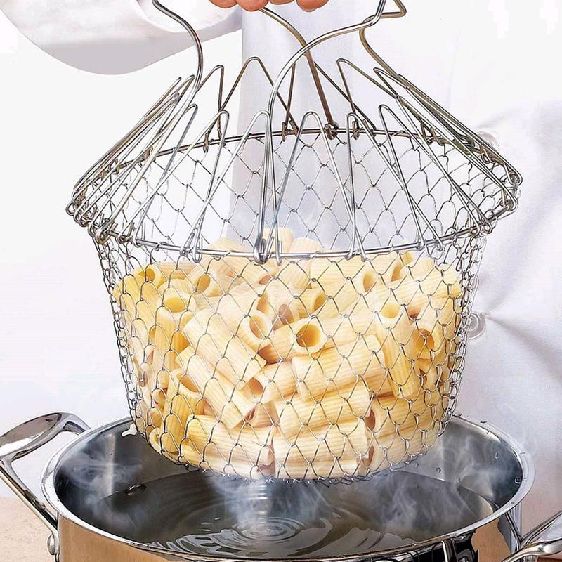 Foldable Chef Basket Strainer Kitchen Cooking Tool Stainless Steel Magic Fry Baskets