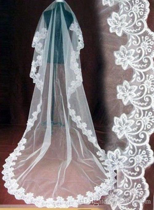Nuovo abito da sposa economico 3 m lungo velo accessori pizzo da sposa bianco sposa prezzo economico 2018