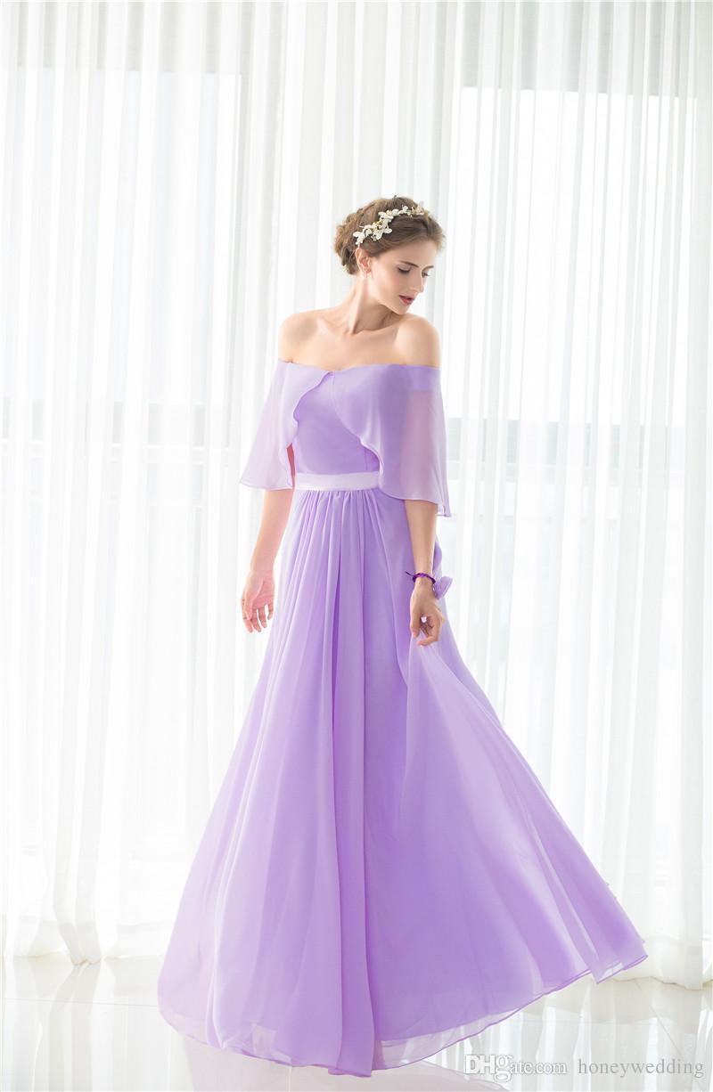 Elegant Light Purple Bridesmaid Dresses Long Under 50 Off Shoulder Draped  Chiffon Wedding Guest Dress In Stock Cheap Bridesmaids Dress Plus Size ...