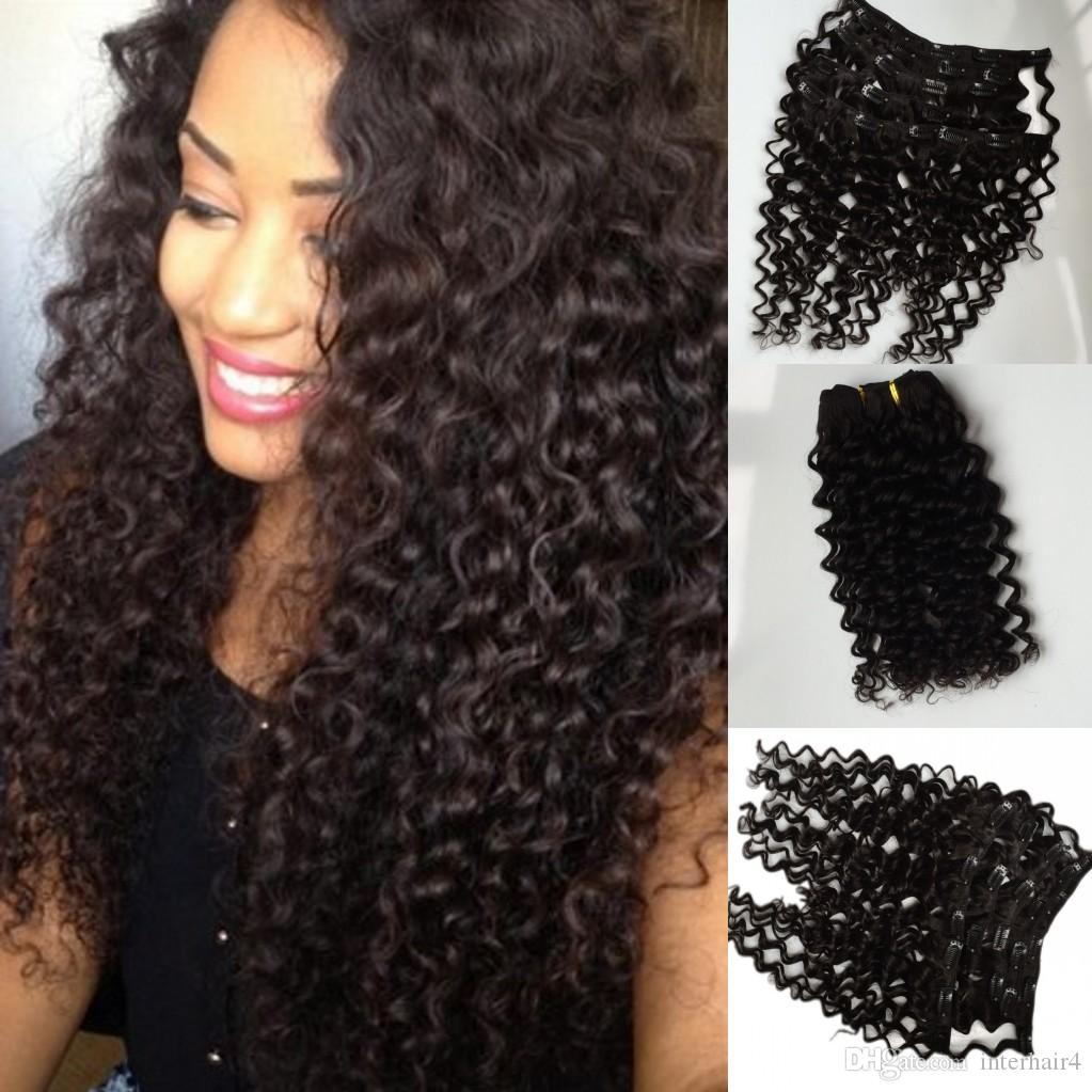 clip in human hair extensions Brazilian Peruvian indian deep wave clip in extension virgin remy human hair weft clip on free epacked