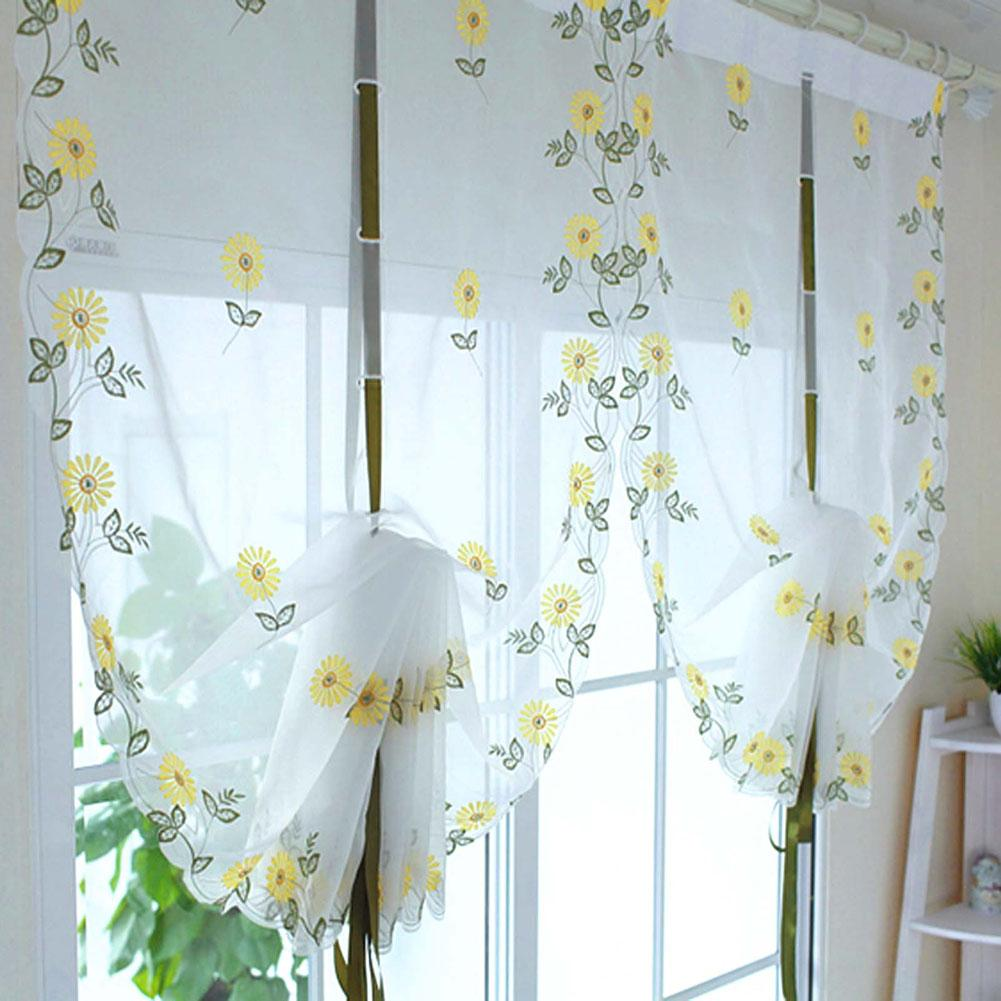 Sunflower Curtains For Kitchen 2017 Daisy Floral Voile Curtain Window Door Roman Curtain