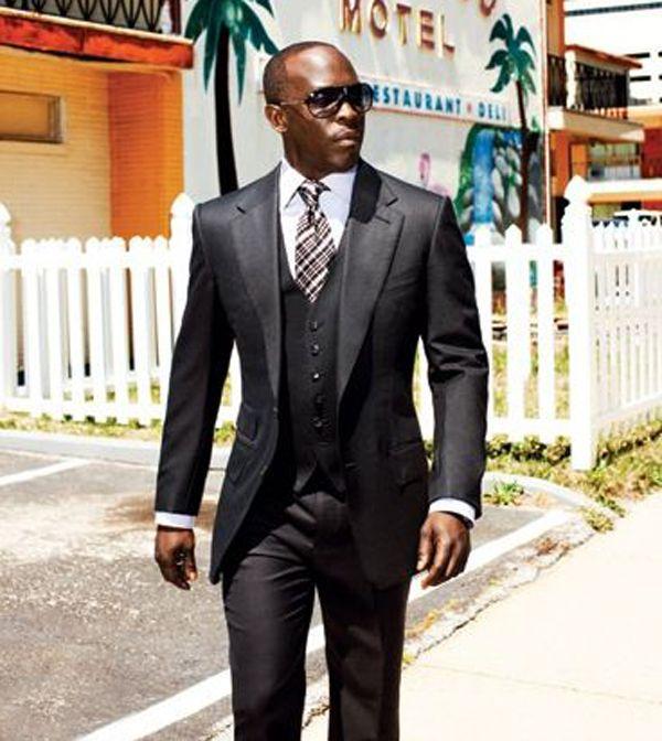 Three pieces (pant+jacket+tie+vest) black suit formal for black man ...